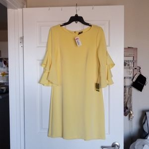 NEW Yellow Taylor Dress with ruffled bell sleeves